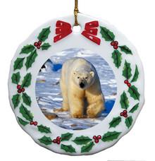 Polar Bear Porcelain Holly Wreath Christmas Ornament
