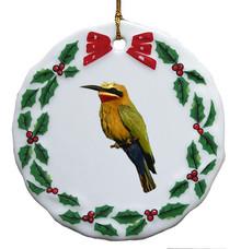 Bee Eater Porcelain Holly Wreath Christmas Ornament