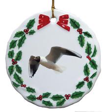 Black Headed Gull Porcelain Holly Wreath Christmas Ornament