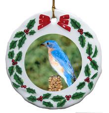 Bluebird Porcelain Holly Wreath Christmas Ornament