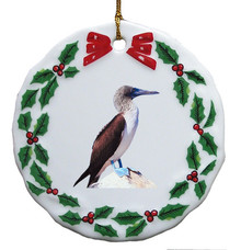 Blue Footed Booby Porcelain Holly Wreath Christmas Ornament