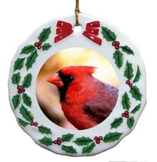 Cardinal Porcelain Holly Wreath Christmas Ornament