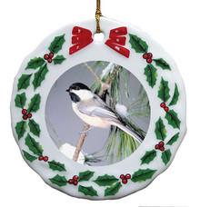 Chickadee Porcelain Holly Wreath Christmas Ornament