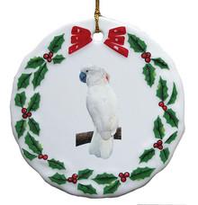 Cockatoo Porcelain Holly Wreath Christmas Ornament