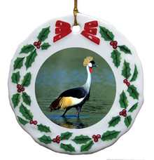 Crowned Crane Porcelain Holly Wreath Christmas Ornament