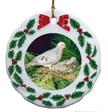 Dove Porcelain Holly Wreath Christmas Ornament