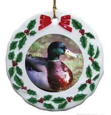 Duck Porcelain Holly Wreath Christmas Ornament