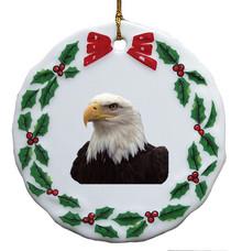 Eagle Porcelain Holly Wreath Christmas Ornament