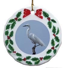 Egret Porcelain Holly Wreath Christmas Ornament
