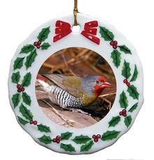 Finch Porcelain Holly Wreath Christmas Ornament