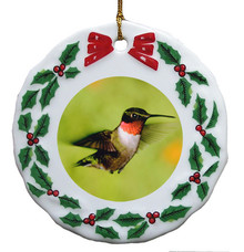 Hummingbird Porcelain Holly Wreath Christmas Ornament
