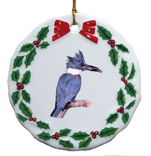 Belted Kingfisher Porcelain Holly Wreath Christmas Ornament
