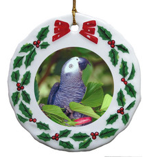 African Grey Parrot Porcelain Holly Wreath Christmas Ornament