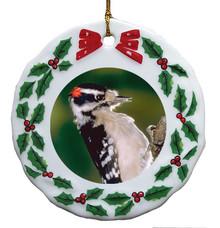 Downey Woodpecker Porcelain Holly Wreath Christmas Ornament