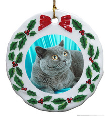 British Shorthair Cat Porcelain Holly Wreath Christmas Ornament