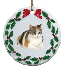 Calico Cat Porcelain Holly Wreath Christmas Ornament