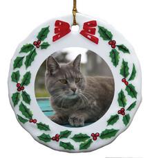 Cat Porcelain Holly Wreath Christmas Ornament