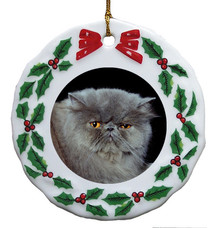 Persian Cat Porcelain Holly Wreath Christmas Ornament