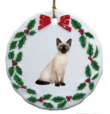 Siamese Cat Porcelain Holly Wreath Christmas Ornament