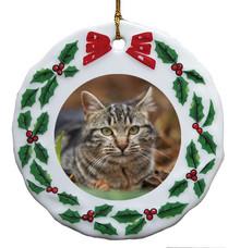 Tabby Cat Porcelain Holly Wreath Christmas Ornament