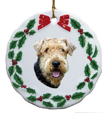 Airedale Porcelain Holly Wreath Christmas Ornament