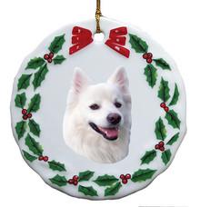 American Eskimo Dog Porcelain Holly Wreath Christmas Ornament
