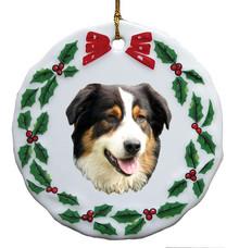 Australian Shepherd Porcelain Holly Wreath Christmas Ornament