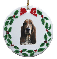 Basset Hound Porcelain Holly Wreath Christmas Ornament