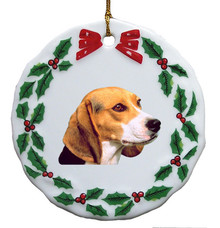 Beagle Porcelain Holly Wreath Christmas Ornament