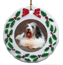 Bearded Collie Porcelain Holly Wreath Christmas Ornament