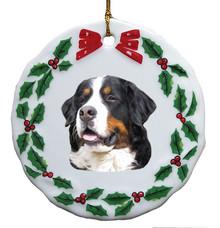 Bernese Mountain Dog Porcelain Holly Wreath Christmas Ornament