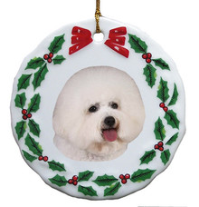 Bichon Porcelain Holly Wreath Christmas Ornament