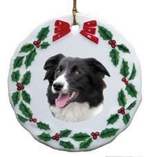 Border Collie Porcelain Holly Wreath Christmas Ornament