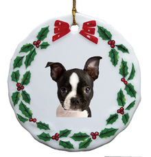 Boston Terrier Porcelain Holly Wreath Christmas Ornament