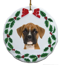 Boxer Porcelain Holly Wreath Christmas Ornament