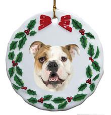 Bulldog Porcelain Holly Wreath Christmas Ornament