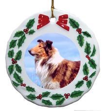 Collie Porcelain Holly Wreath Christmas Ornament