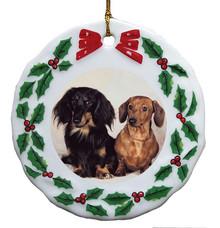 Dachshund Porcelain Holly Wreath Christmas Ornament
