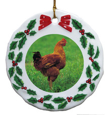 Chicken Porcelain Holly Wreath Christmas Ornament