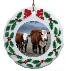 Cow Porcelain Holly Wreath Christmas Ornament