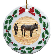 Donkey Porcelain Holly Wreath Christmas Ornament