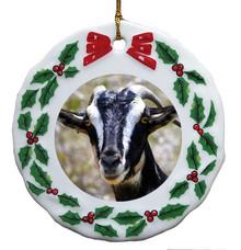 Goat Porcelain Holly Wreath Christmas Ornament