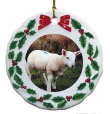 Lamb Porcelain Holly Wreath Christmas Ornament