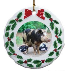 Pig Porcelain Holly Wreath Christmas Ornament