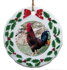 Rooster Porcelain Holly Wreath Christmas Ornament