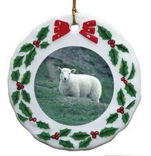 Sheep Porcelain Holly Wreath Christmas Ornament