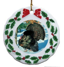 Turkey Porcelain Holly Wreath Christmas Ornament
