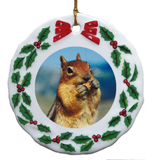 Chipmunk Porcelain Holly Wreath Christmas Ornament