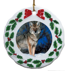 Coyote Porcelain Holly Wreath Christmas Ornament