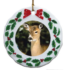 Deer Porcelain Holly Wreath Christmas Ornament